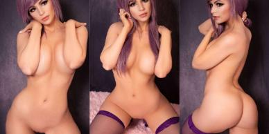 NudeCosplayGirls.com - DanielleCosplay nude Purple Boudoir Lingerie